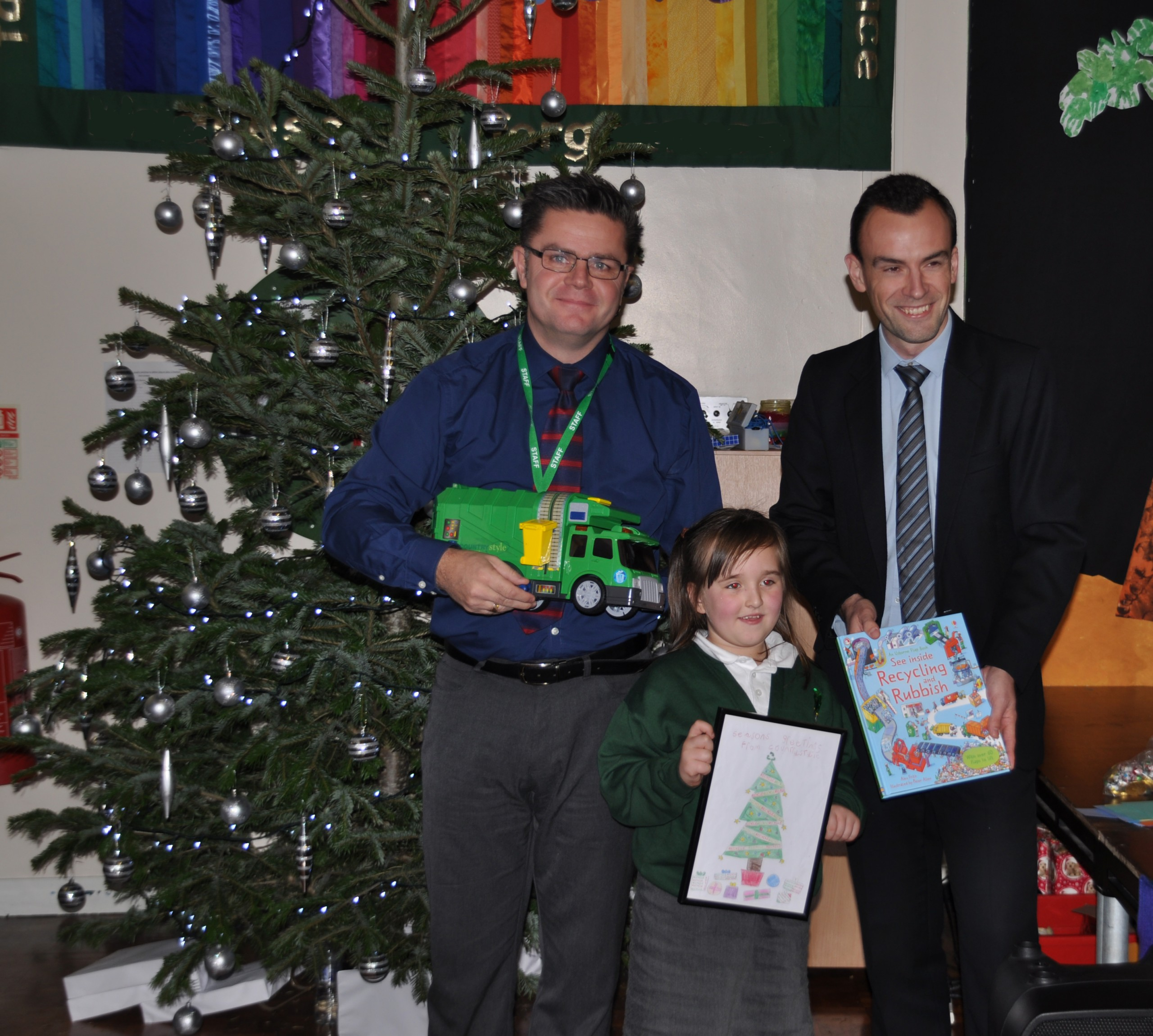 Countrystyle Recycling surprised the winner of their school Christmas card competition
