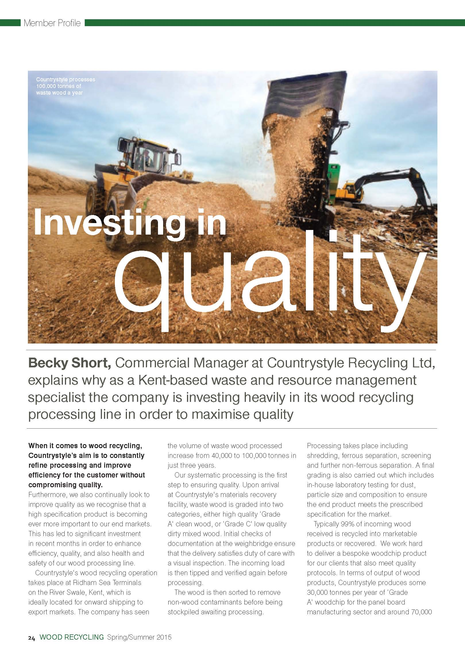 Wood Recycling Magazine, Investing in Quality, Wood Operation