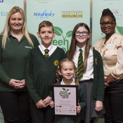 Best Recycling School Award Faversham, Hernhill C of E Primary School, Faversham. from left, Jolene Simionato CountryStyle, Tom Hartman, Lucia Salt, Roisin Courtney, Blessing Enakimio Blessings by Ble. Green School awards. Ashford International Hotel, Simone Weil Avenue, Ashford, Kent. Picture Submitted by: Martin Apps KM Group has permission to sell this image via photo sales and to re-sell the image to other media for single-use publication.